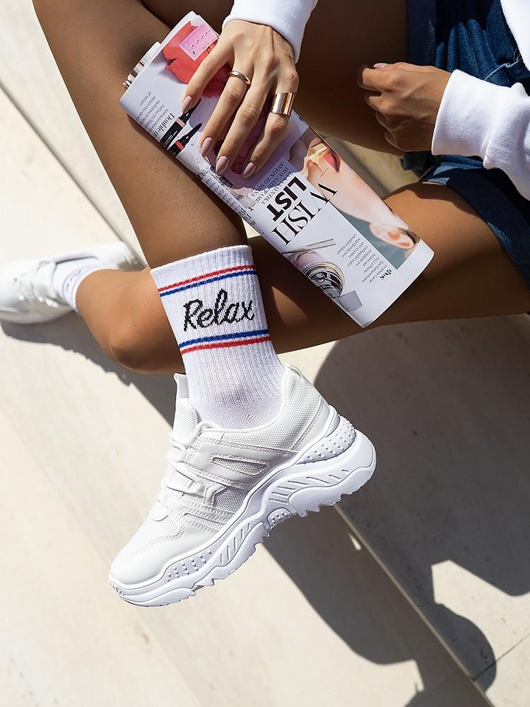 RELAX WHITE BASKET SOCKS
