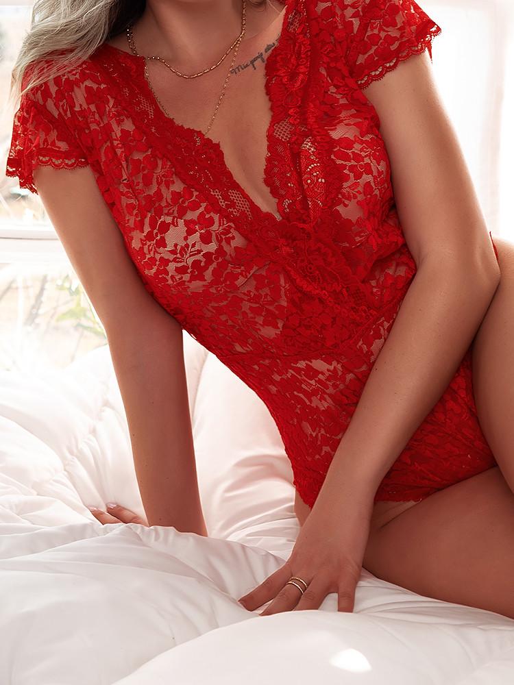 CYNTHIA RED LACE BODYSUIT