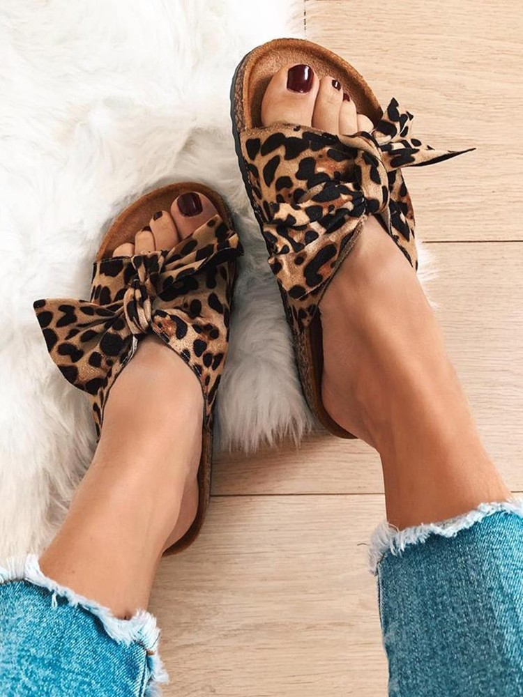 LEOPARD SUEDE BOW SLIPPERS